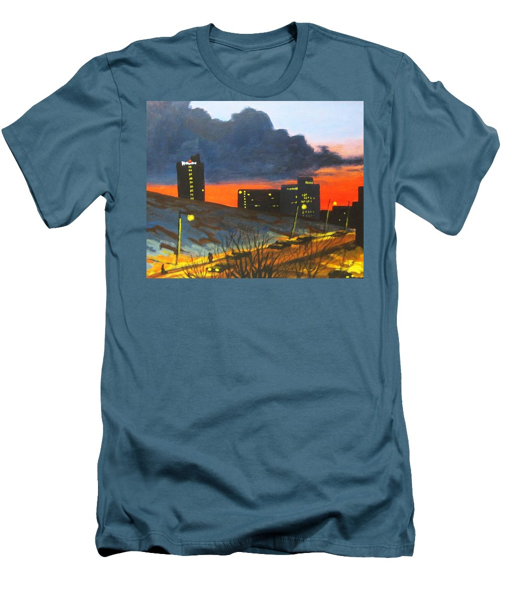 Sunset Men's T-Shirt (Athletic Fit) featuring the painting Balcony View 2 by John Malone