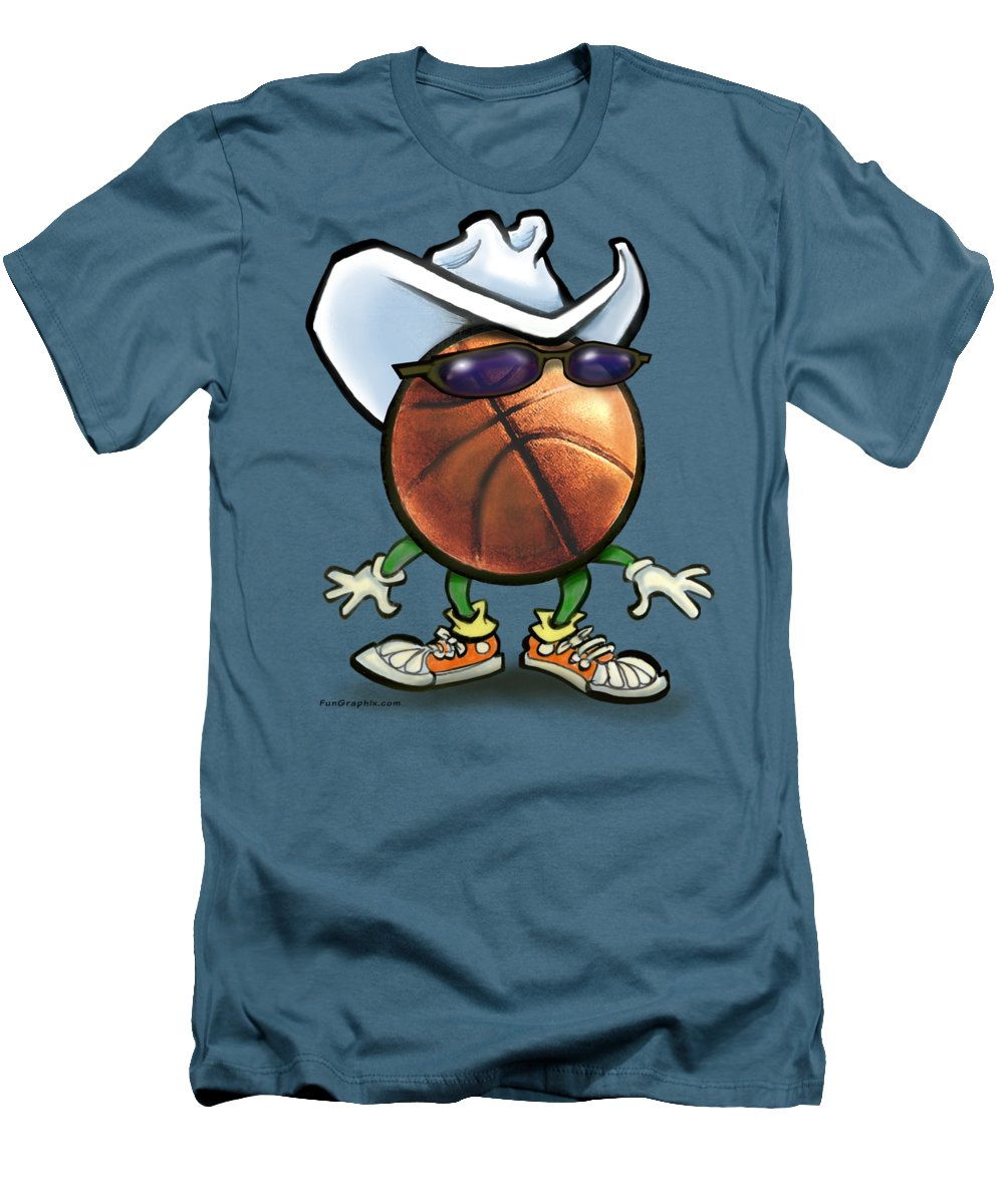 Basketball Men's T-Shirt (Athletic Fit) featuring the digital art Basketball Cowboy by Kevin Middleton