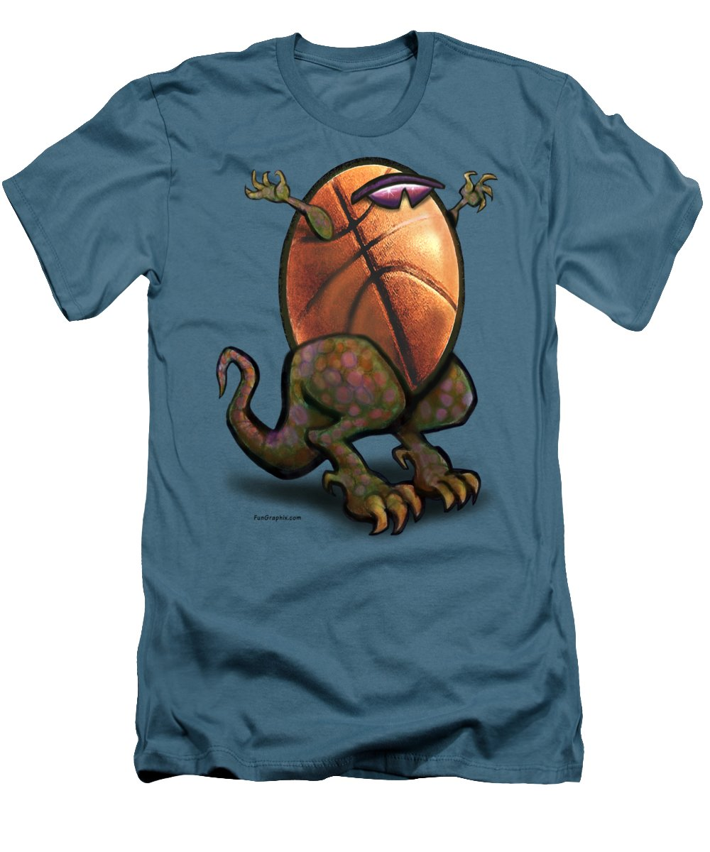 Basketball Men's T-Shirt (Athletic Fit) featuring the digital art Basketball Saurus Rex by Kevin Middleton