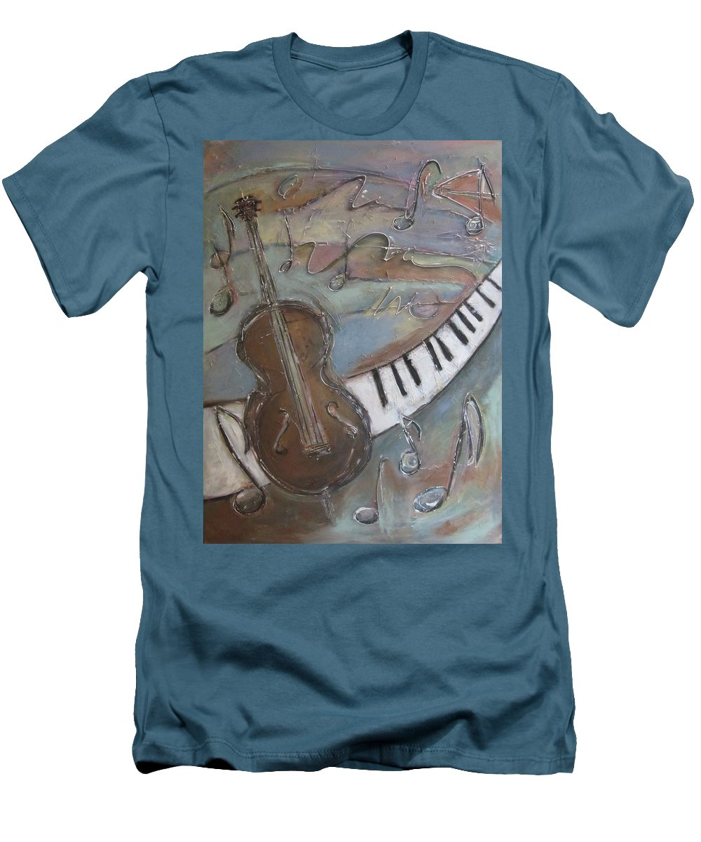Painting Men's T-Shirt (Athletic Fit) featuring the painting Bass And Keys by Anita Burgermeister