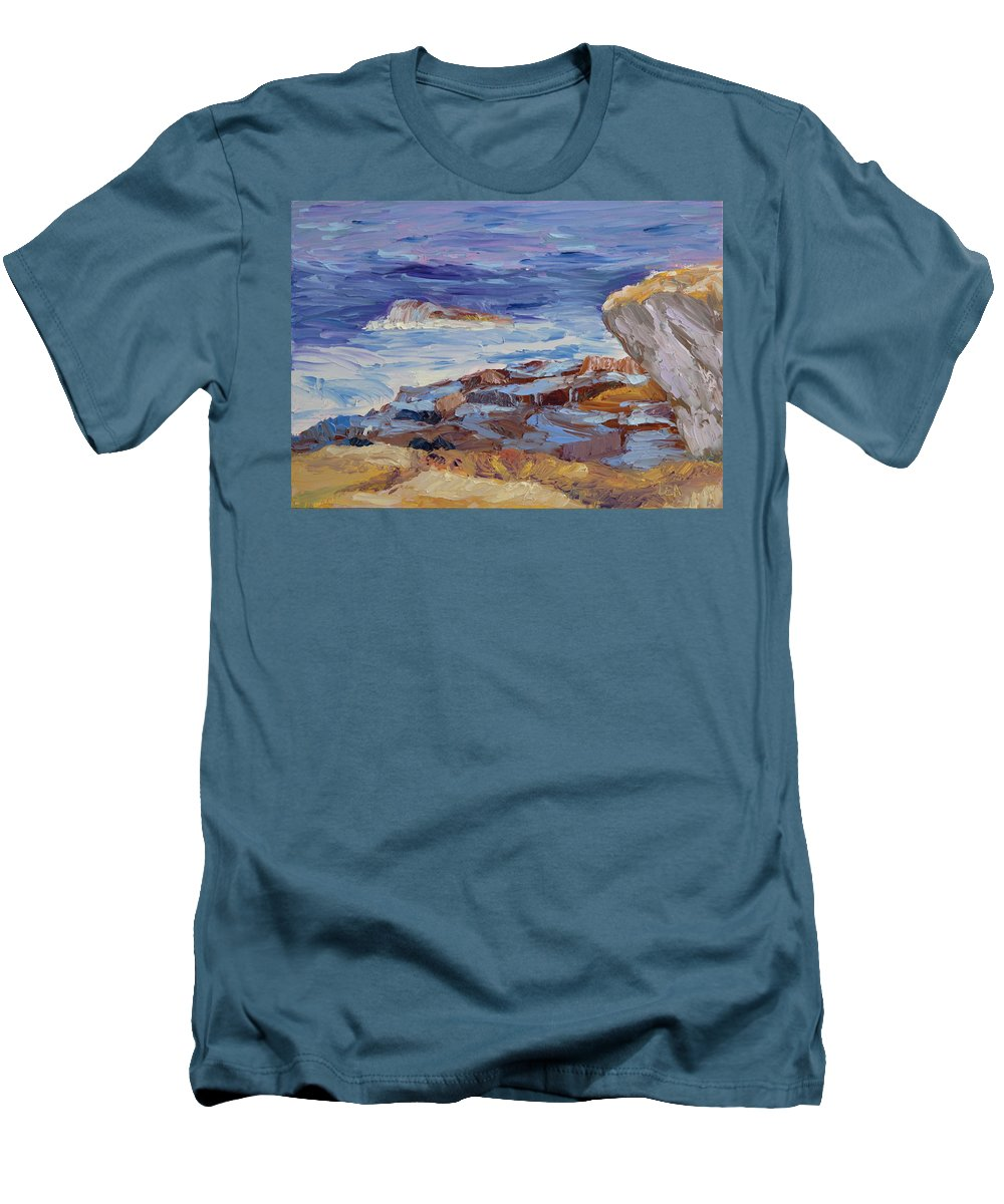 Seascape Painting Men's T-Shirt (Athletic Fit) featuring the painting Bass Rocks by Lea Novak