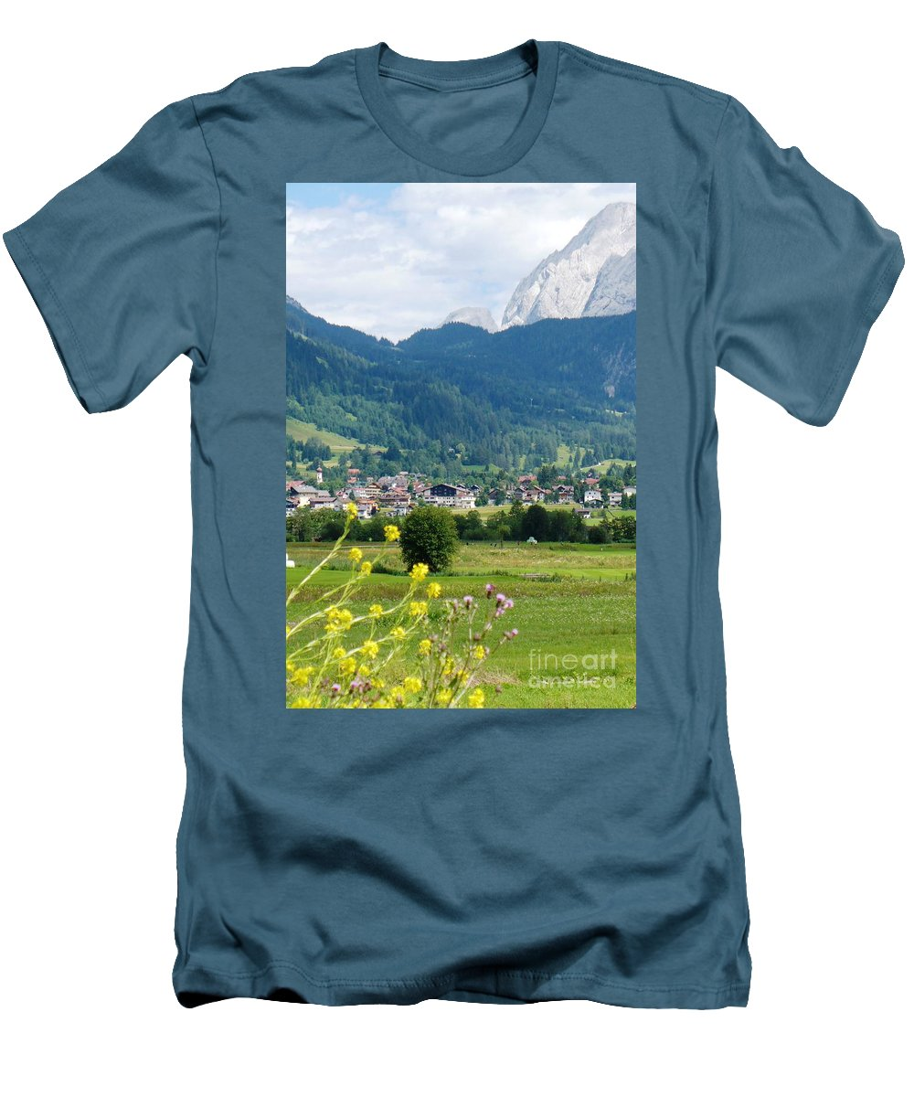 Bavaria Men's T-Shirt (Athletic Fit) featuring the photograph Bavarian Alps With Village And Flowers by Carol Groenen