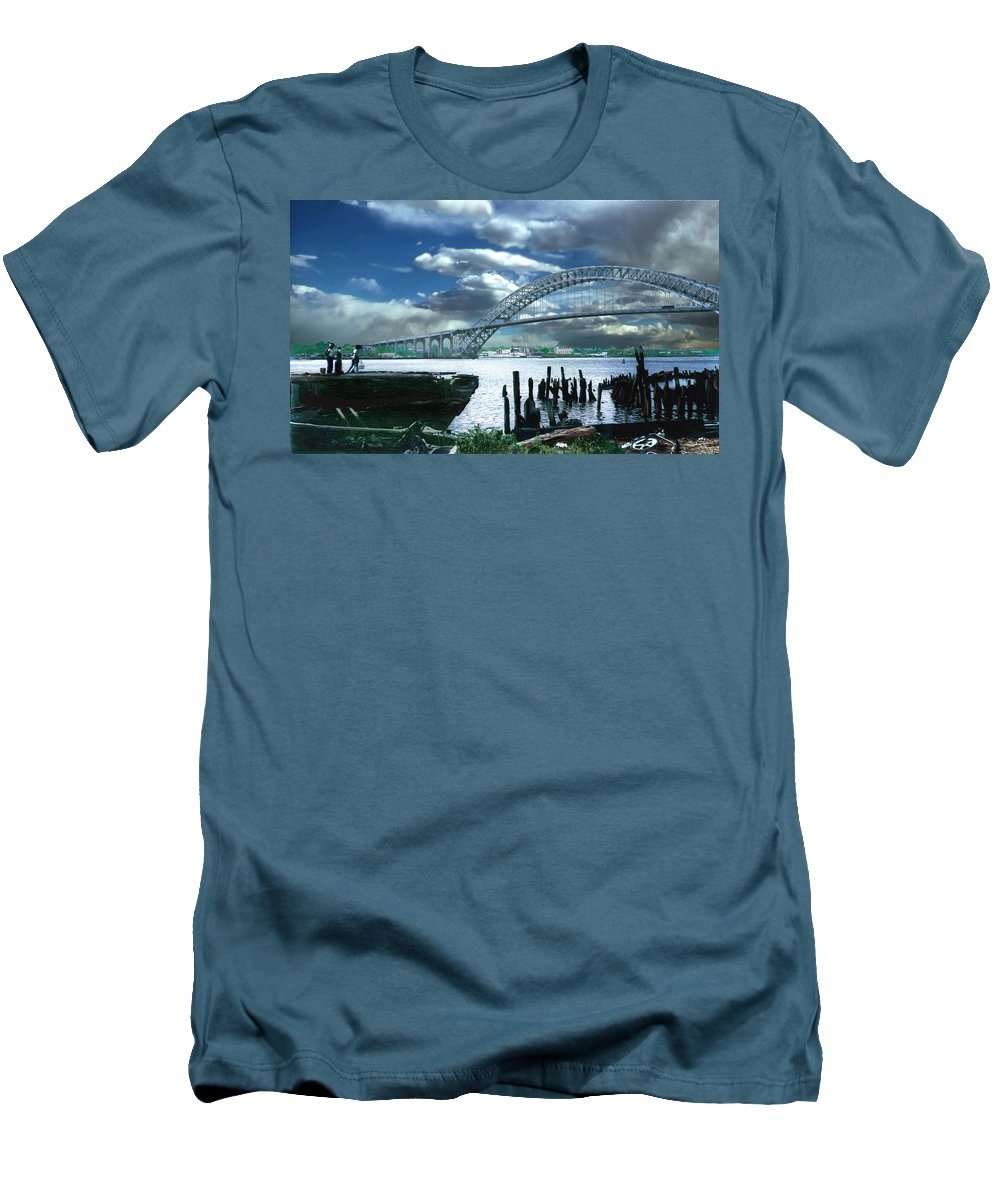 Seascape Men's T-Shirt (Athletic Fit) featuring the photograph Bayonne Bridge by Steve Karol