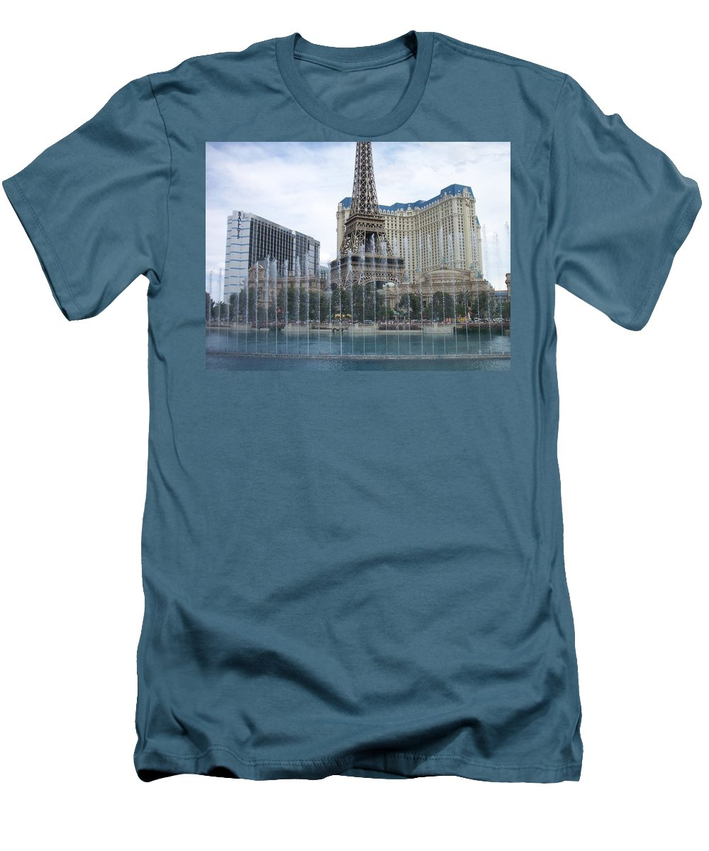 Bellagio Fountain Men's T-Shirt (Athletic Fit) featuring the photograph Bellagio Fountain 1 by Anita Burgermeister
