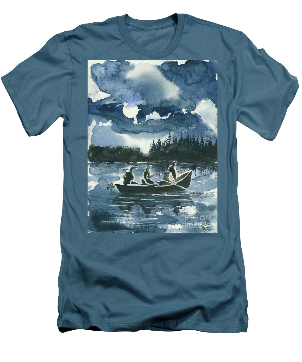 Watercolor Men's T-Shirt (Athletic Fit) featuring the painting Beneath The Stars by Elisabeta Hermann