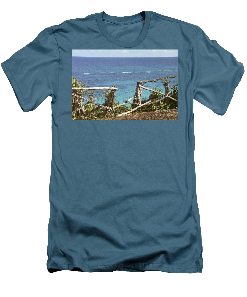Bermuda Men's T-Shirt (Athletic Fit) featuring the photograph Bermuda Fence And Ocean Overlook by Heather Kirk