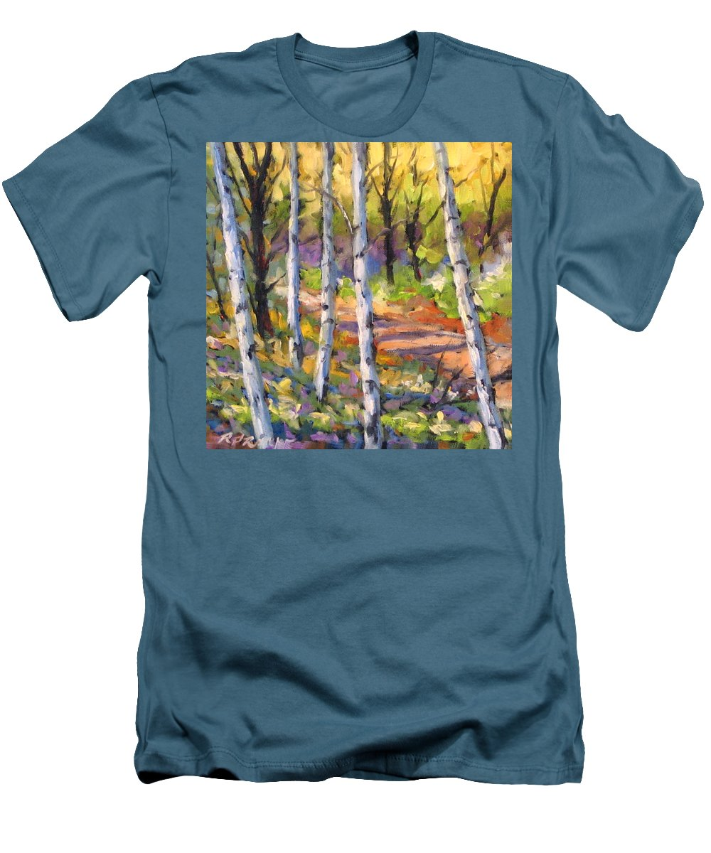 Art Men's T-Shirt (Athletic Fit) featuring the painting Birches 02 by Richard T Pranke