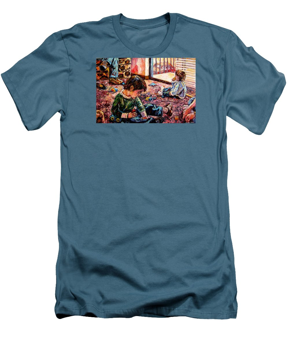 Figure Men's T-Shirt (Athletic Fit) featuring the painting Birthday Party Or A Childs View by Kendall Kessler