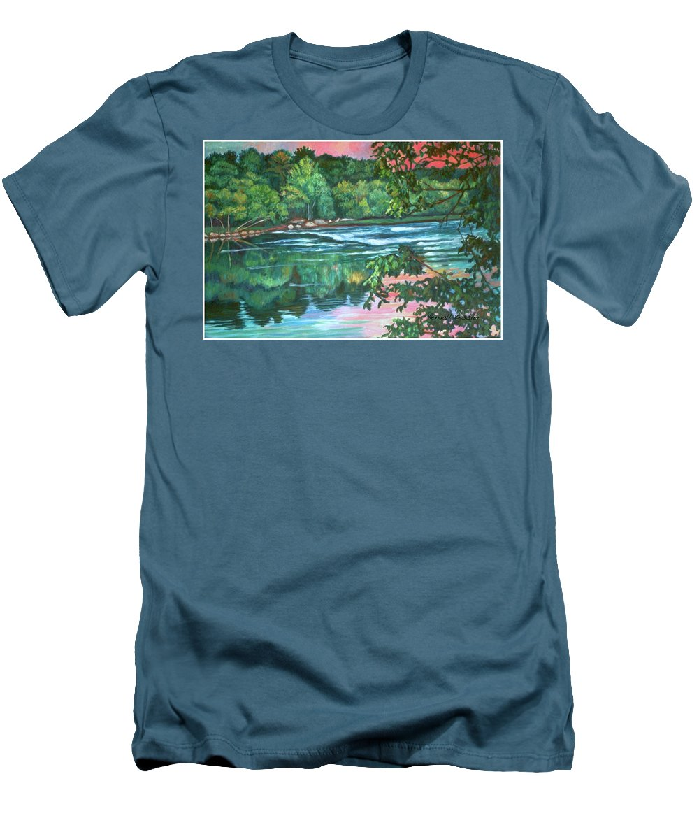 River Men's T-Shirt (Athletic Fit) featuring the painting Bisset Park Rapids by Kendall Kessler