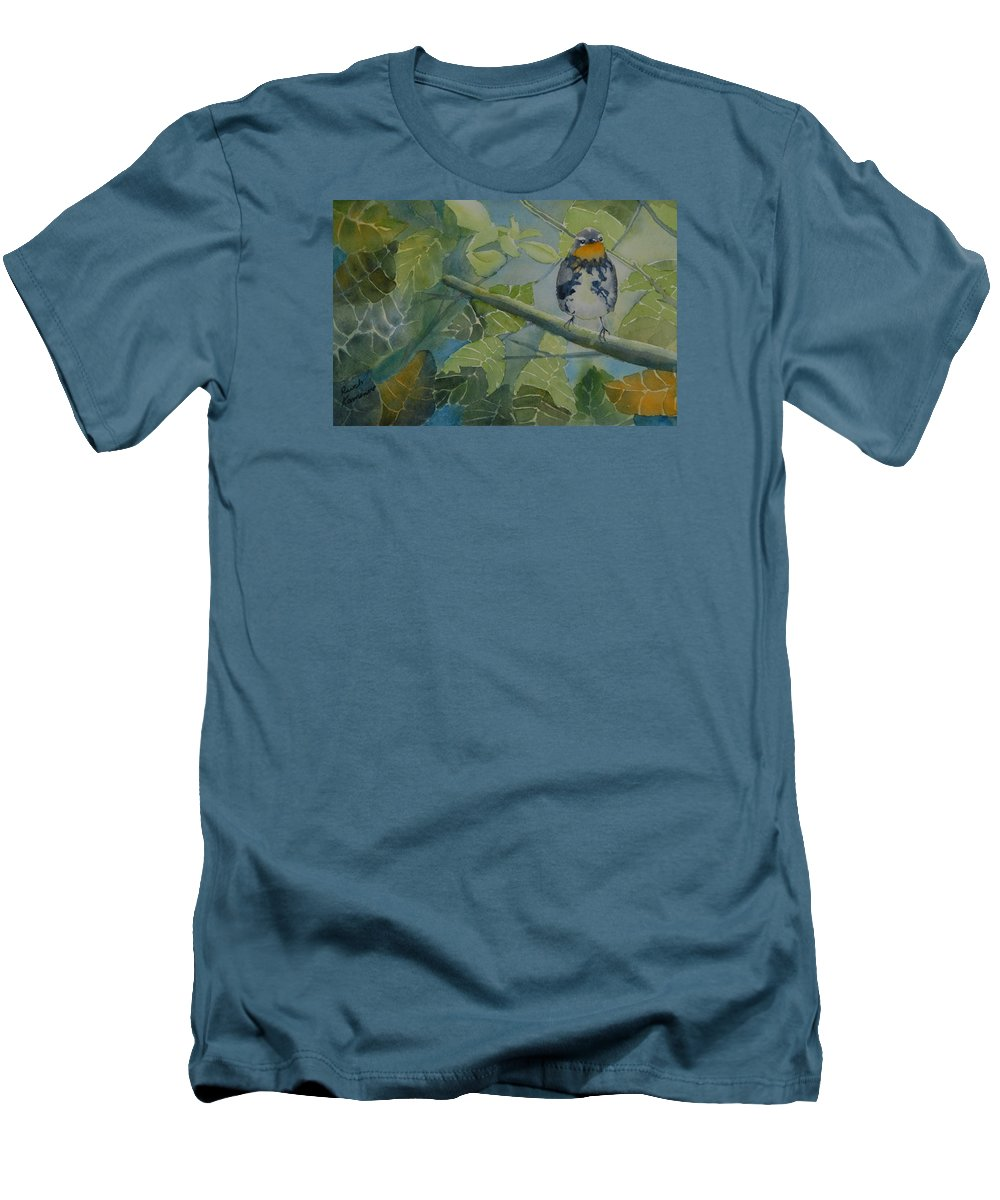 Bird Men's T-Shirt (Athletic Fit) featuring the painting Blackburnian Warbler I by Ruth Kamenev