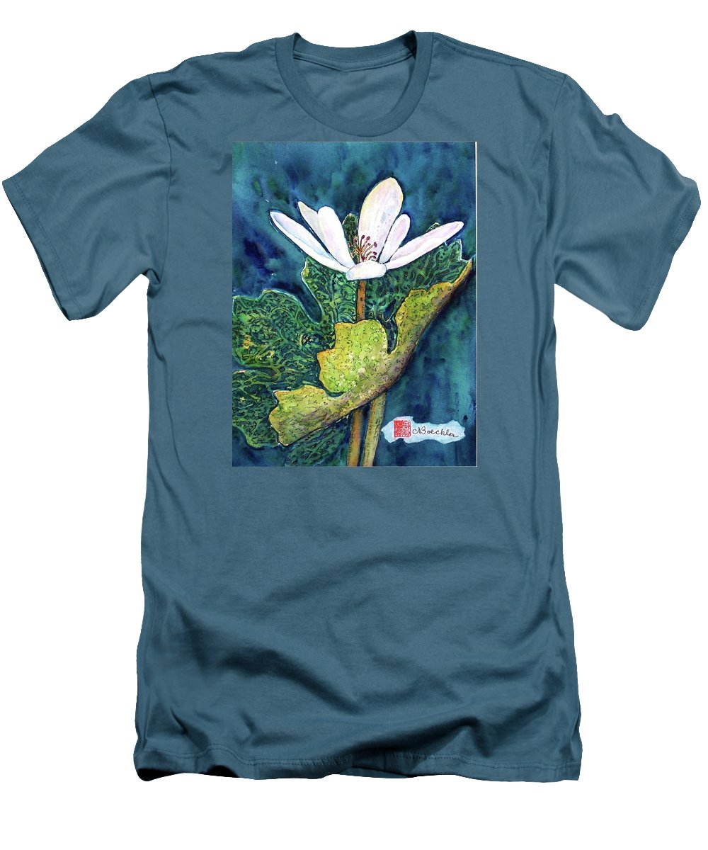 White Flower Men's T-Shirt (Athletic Fit) featuring the painting Blood Root by Norma Boeckler