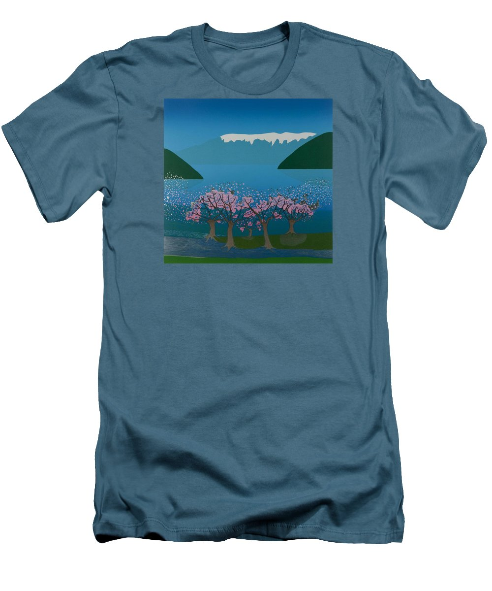 Landscape Men's T-Shirt (Athletic Fit) featuring the mixed media Blossom In The Hardanger Fjord by Jarle Rosseland