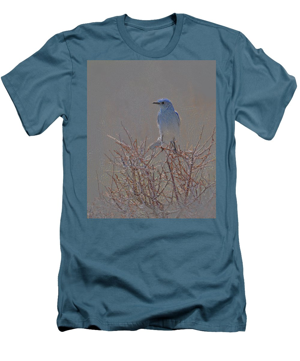 Colored Pencil Men's T-Shirt (Athletic Fit) featuring the photograph Blue Bird Colored Pencil by Heather Coen