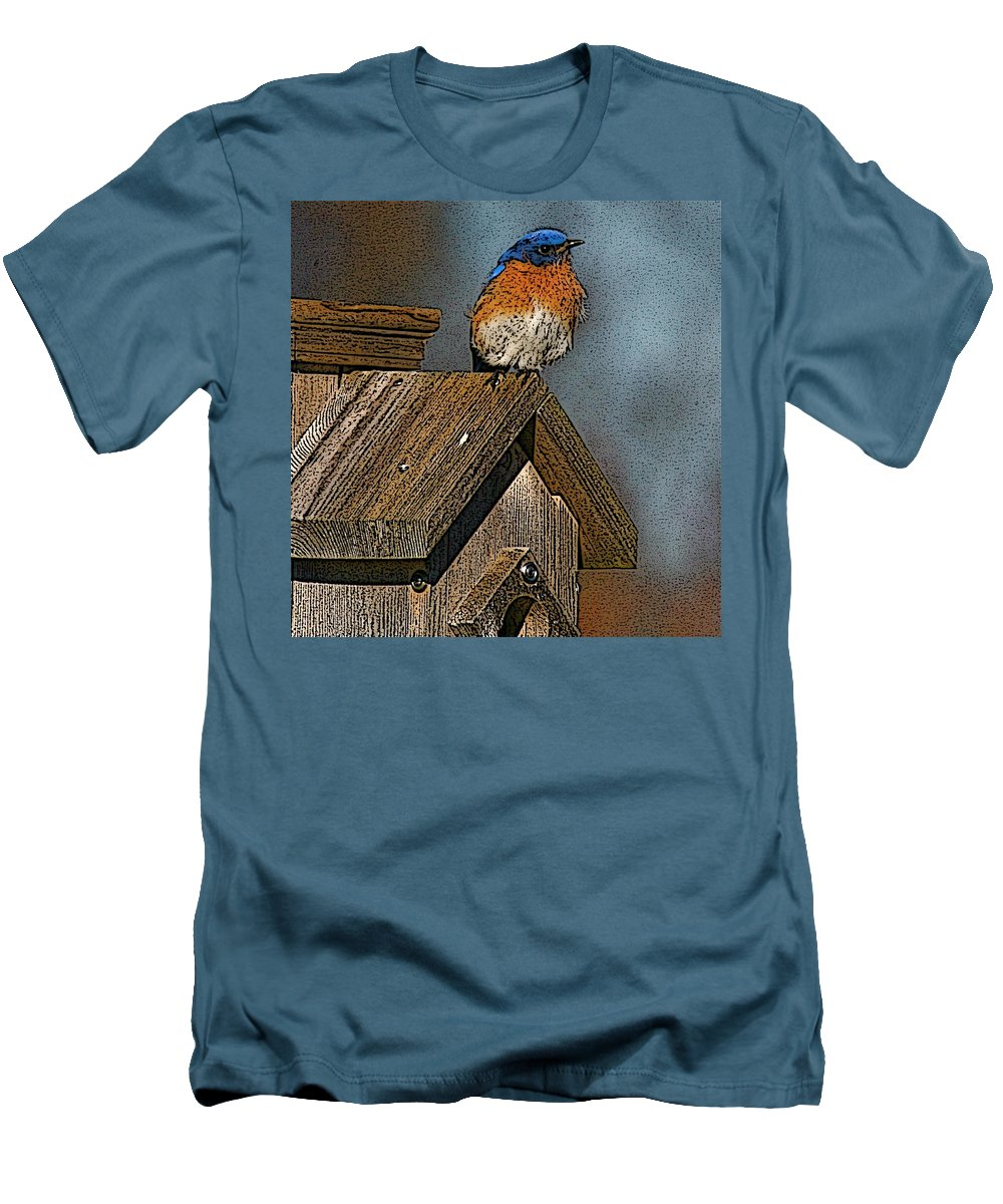 Blue Bird Men's T-Shirt (Athletic Fit) featuring the photograph Blue Bird Songs by Robert Pearson