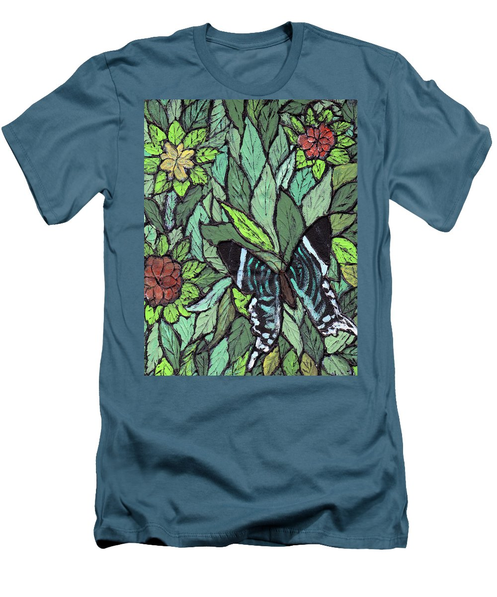 Butterfly Men's T-Shirt (Athletic Fit) featuring the painting Blue Butterfly by Wayne Potrafka