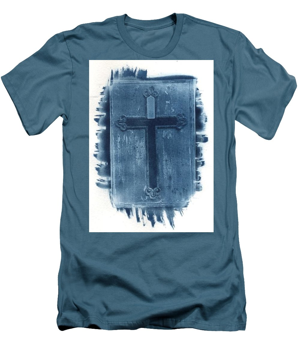 Cyanotype Men's T-Shirt (Athletic Fit) featuring the photograph Blue Cross by Jane Linders