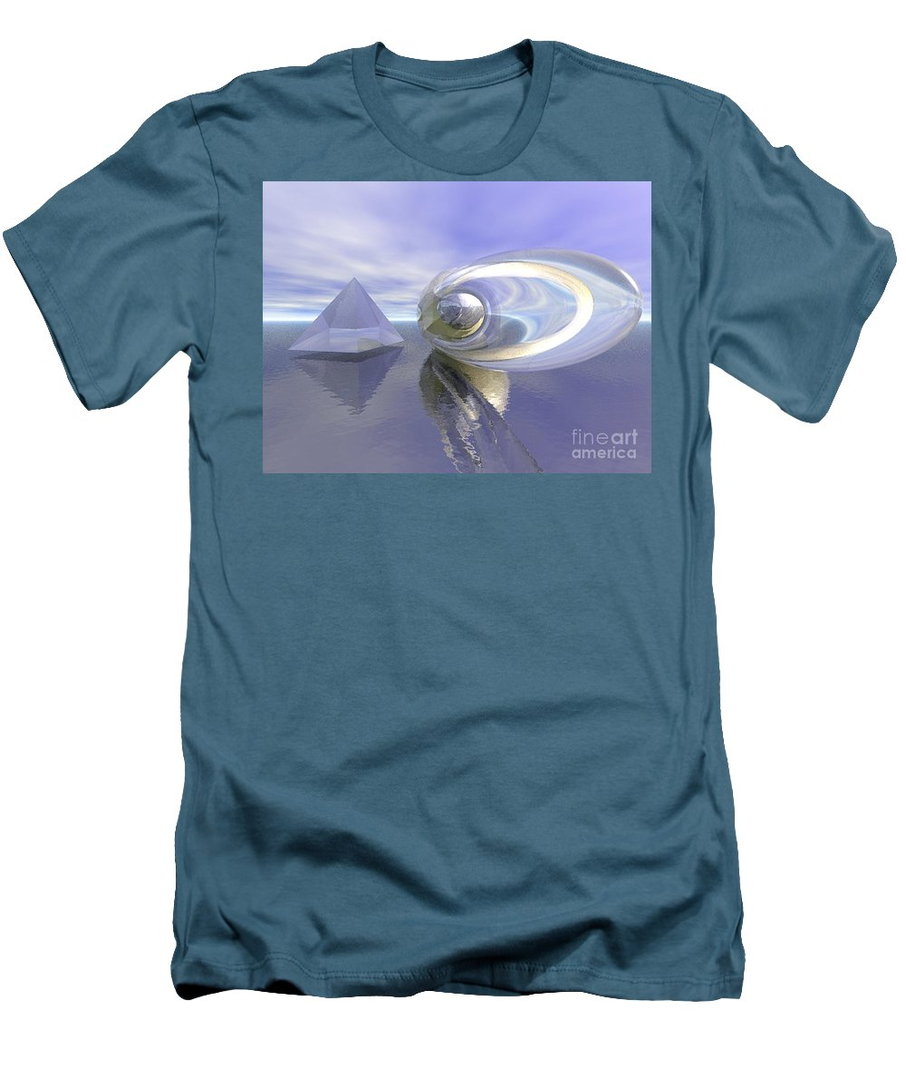Surreal Men's T-Shirt (Athletic Fit) featuring the digital art Blue Surreal by Oscar Basurto Carbonell