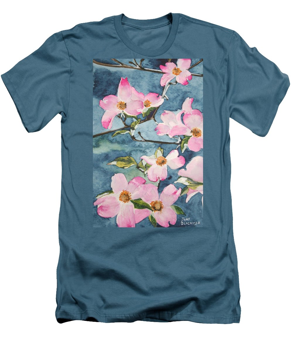 Flowers Men's T-Shirt (Athletic Fit) featuring the painting Blushing Prettily by Jean Blackmer