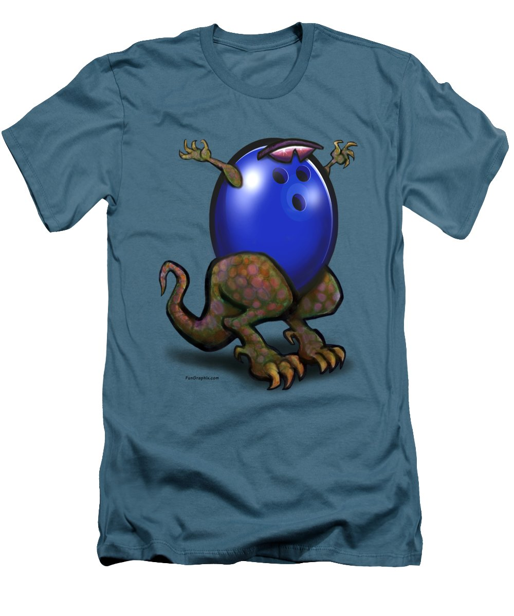Bowl Men's T-Shirt (Athletic Fit) featuring the digital art Bowling Beast by Kevin Middleton