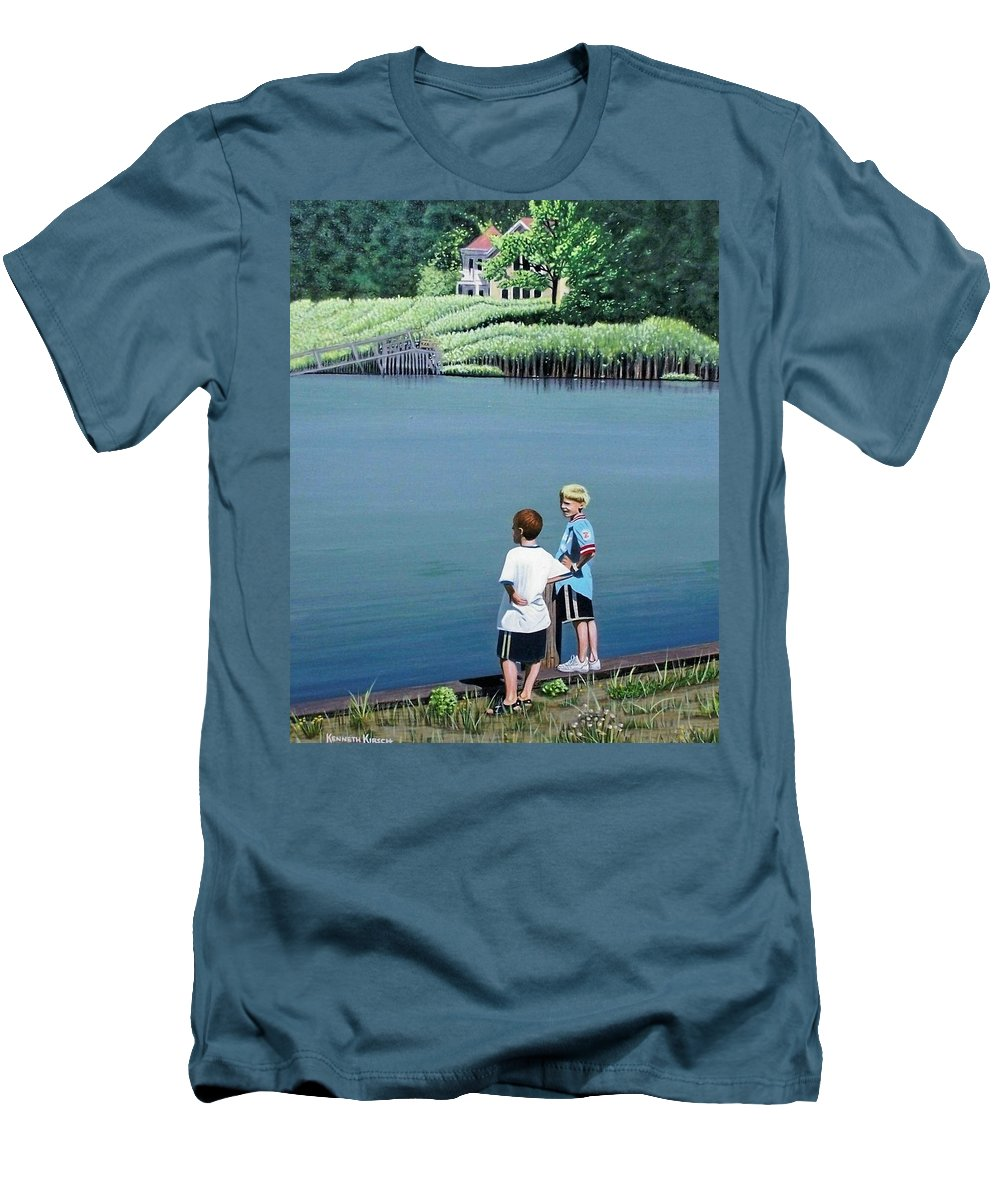 Landscape Men's T-Shirt (Athletic Fit) featuring the painting Boys Of Summer by Kenneth M Kirsch