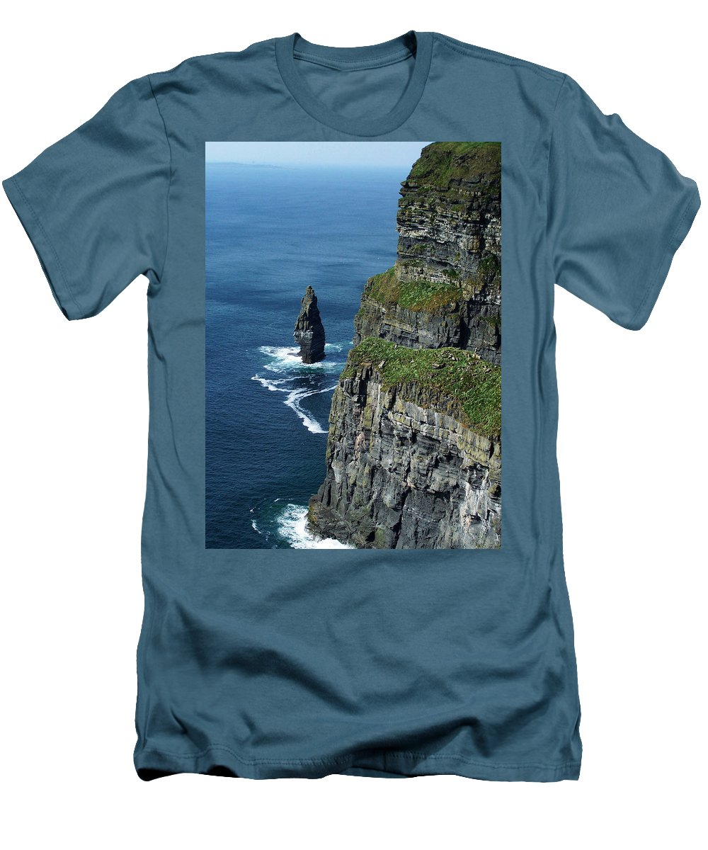 Irish Men's T-Shirt (Athletic Fit) featuring the photograph Brananmore Cliffs Of Moher Ireland by Teresa Mucha
