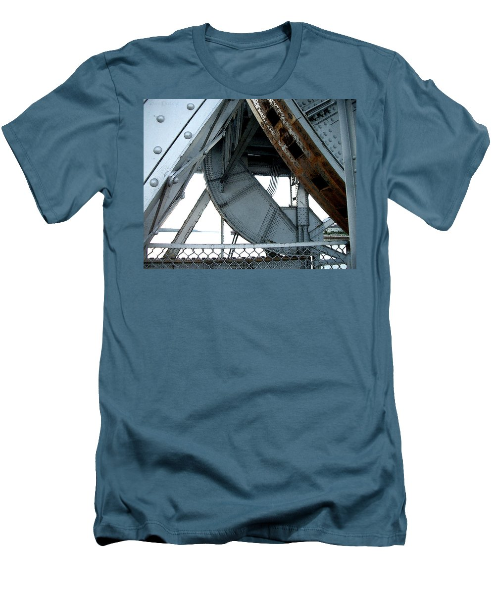 Steel Men's T-Shirt (Athletic Fit) featuring the photograph Bridge Gears by Tim Nyberg