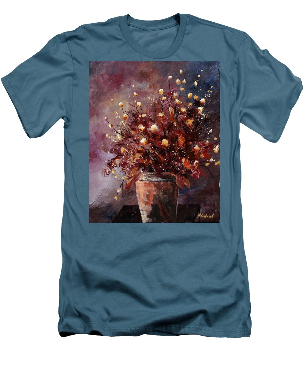 Poppies Men's T-Shirt (Athletic Fit) featuring the painting Bunch 56 by Pol Ledent