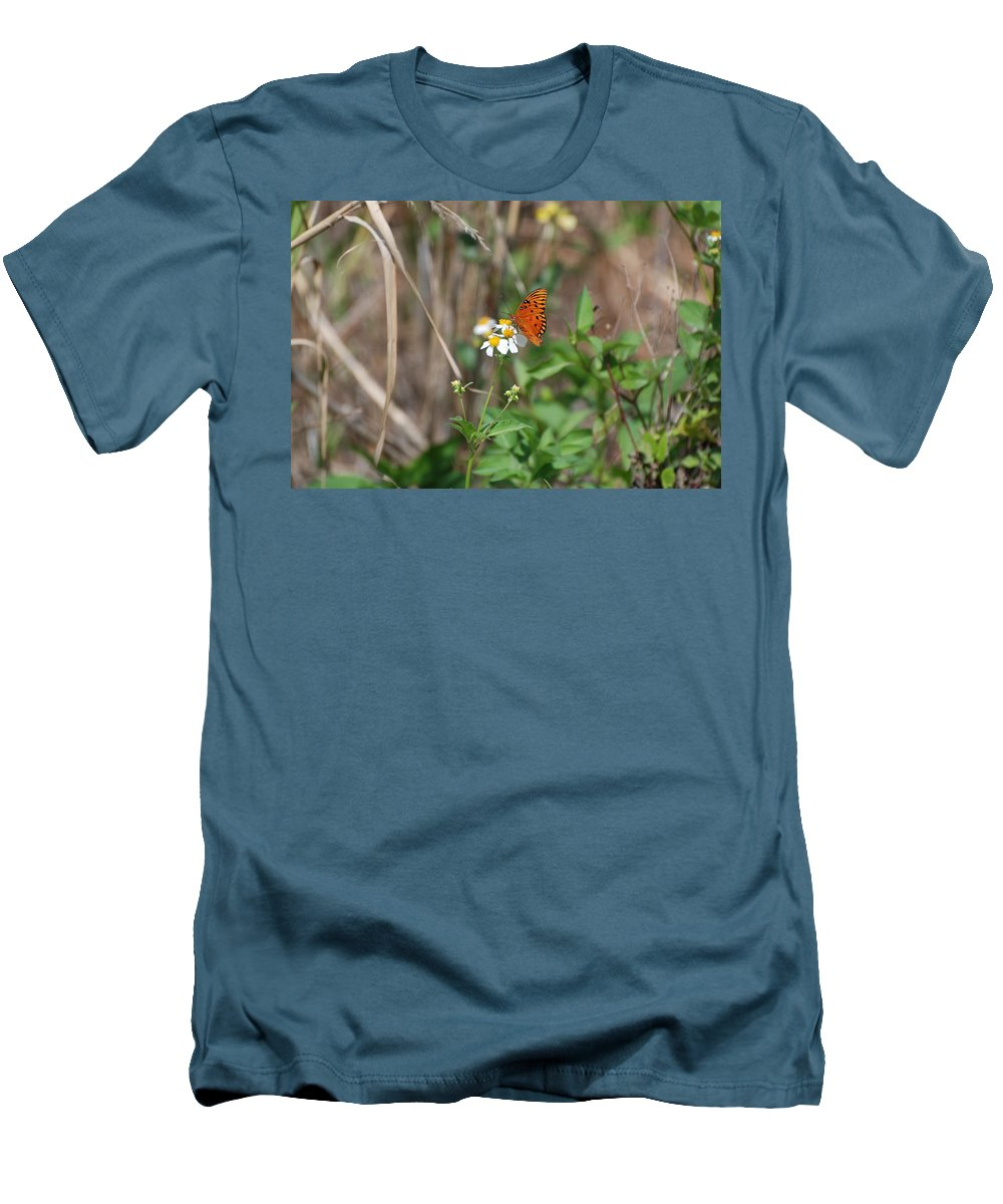 Butterfly Men's T-Shirt (Athletic Fit) featuring the photograph Butterfly Flower by Rob Hans