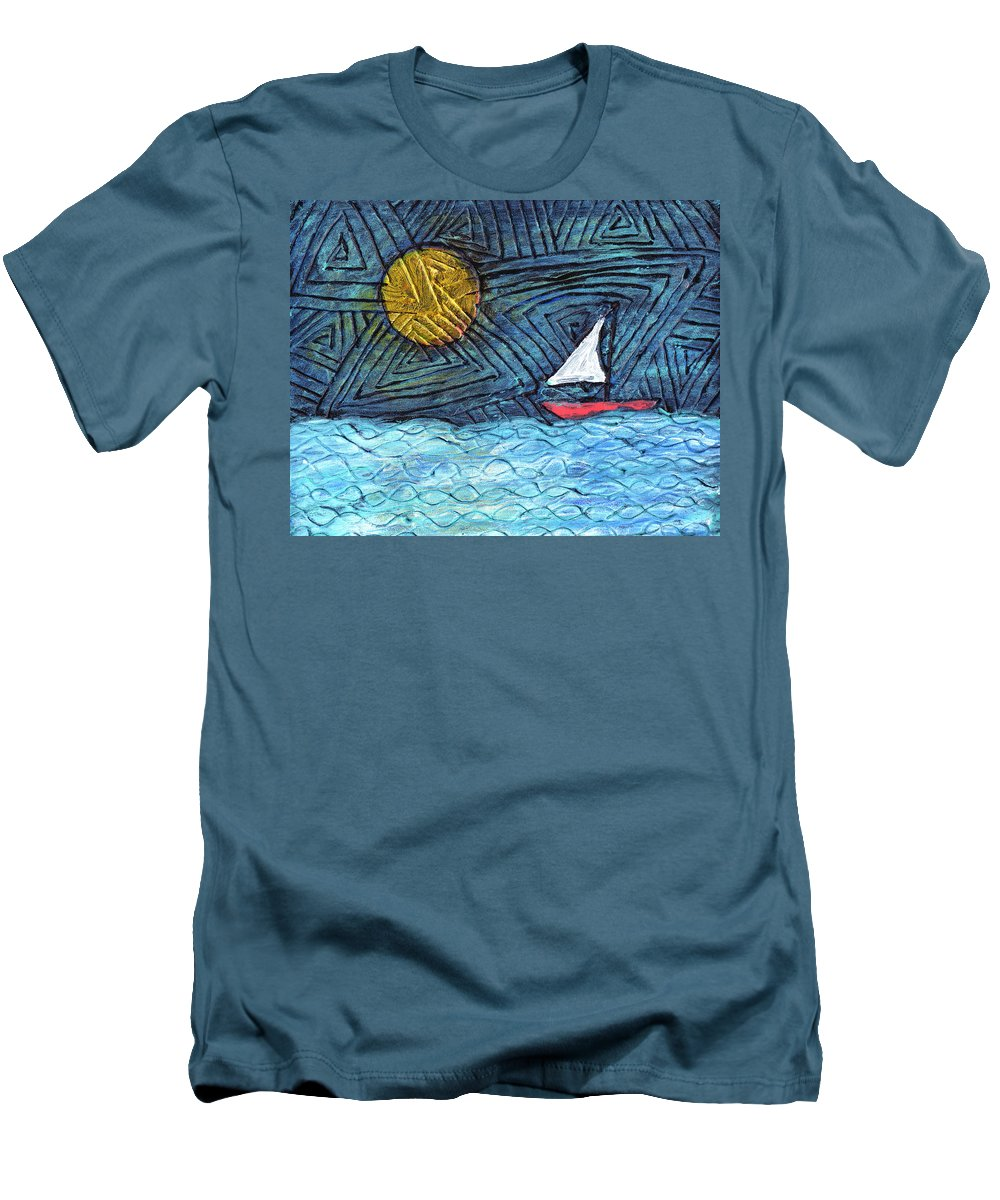Sail Boat Men's T-Shirt (Athletic Fit) featuring the painting By The Light Of The Moon by Wayne Potrafka