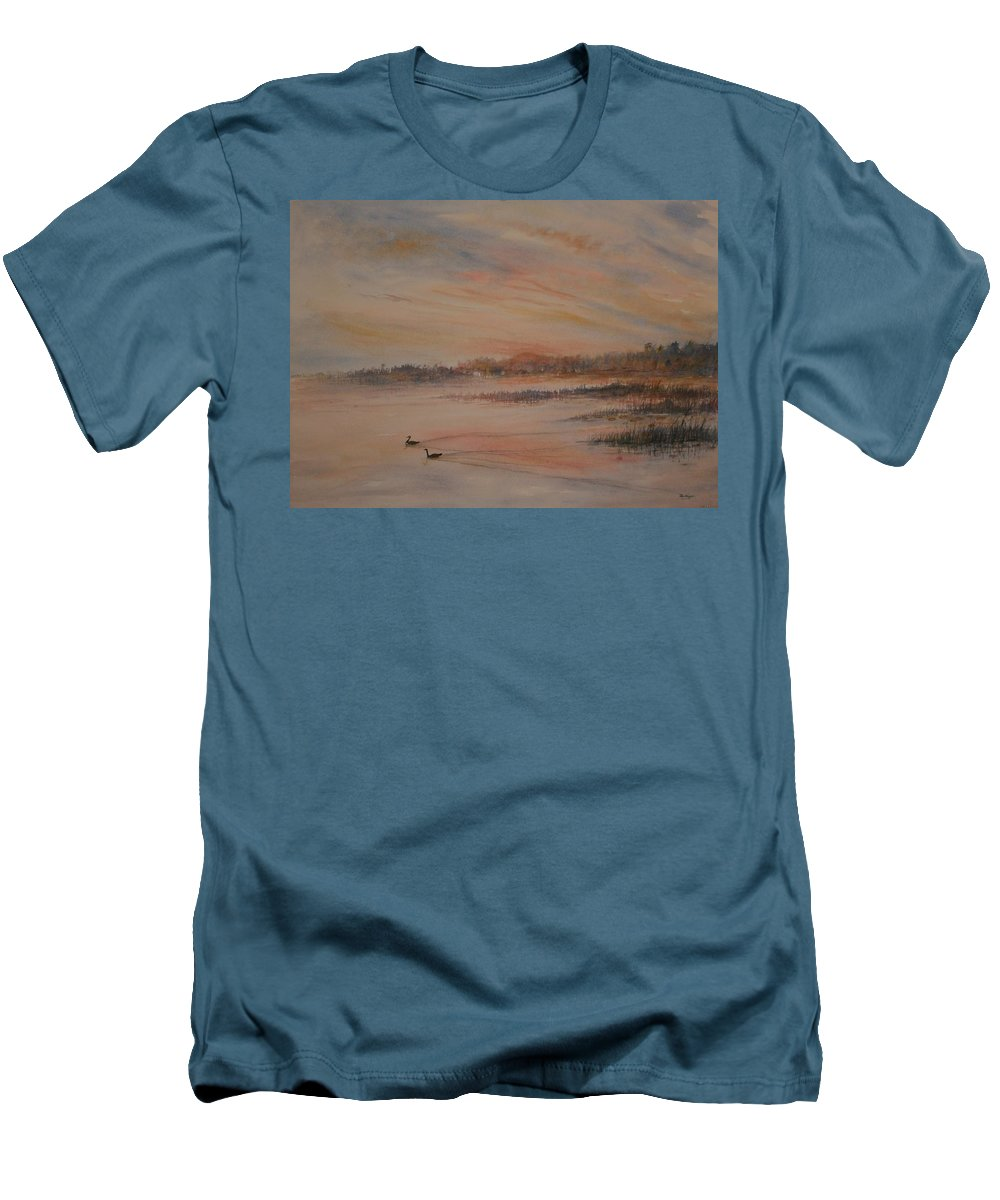 Landscape;geese;birds; Marshes; Sunset Men's T-Shirt (Athletic Fit) featuring the painting Canadian Geese At Sunset by Ben Kiger