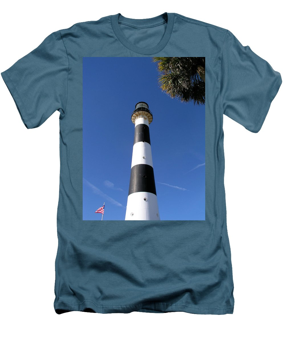 Cape; Canaveral; Light; Lighthouse; Lighthousekeeper; Keeper; Stairs; Kennedy; Space; Center; Air; F Men's T-Shirt (Athletic Fit) featuring the photograph Canaveral Light by Allan Hughes
