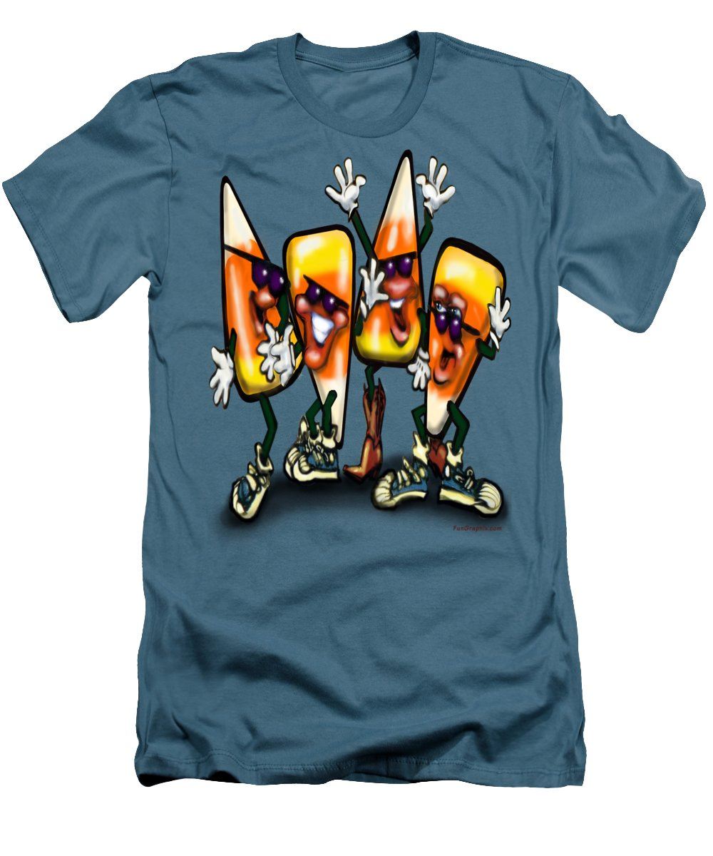 Candy Men's T-Shirt (Athletic Fit) featuring the digital art Candy Corn Gang by Kevin Middleton