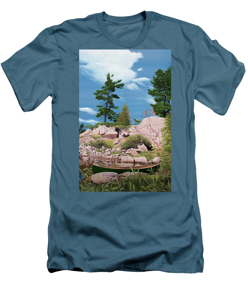 Landscapes Men's T-Shirt (Athletic Fit) featuring the painting Canoe Among The Rocks by Kenneth M Kirsch