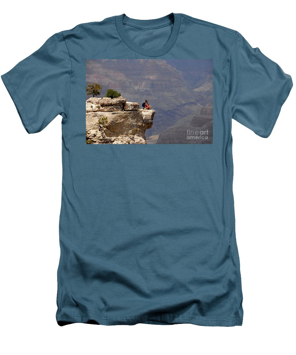 Grand Canyon National Park Arizona Men's T-Shirt (Athletic Fit) featuring the photograph Canyon Thoughts by David Lee Thompson