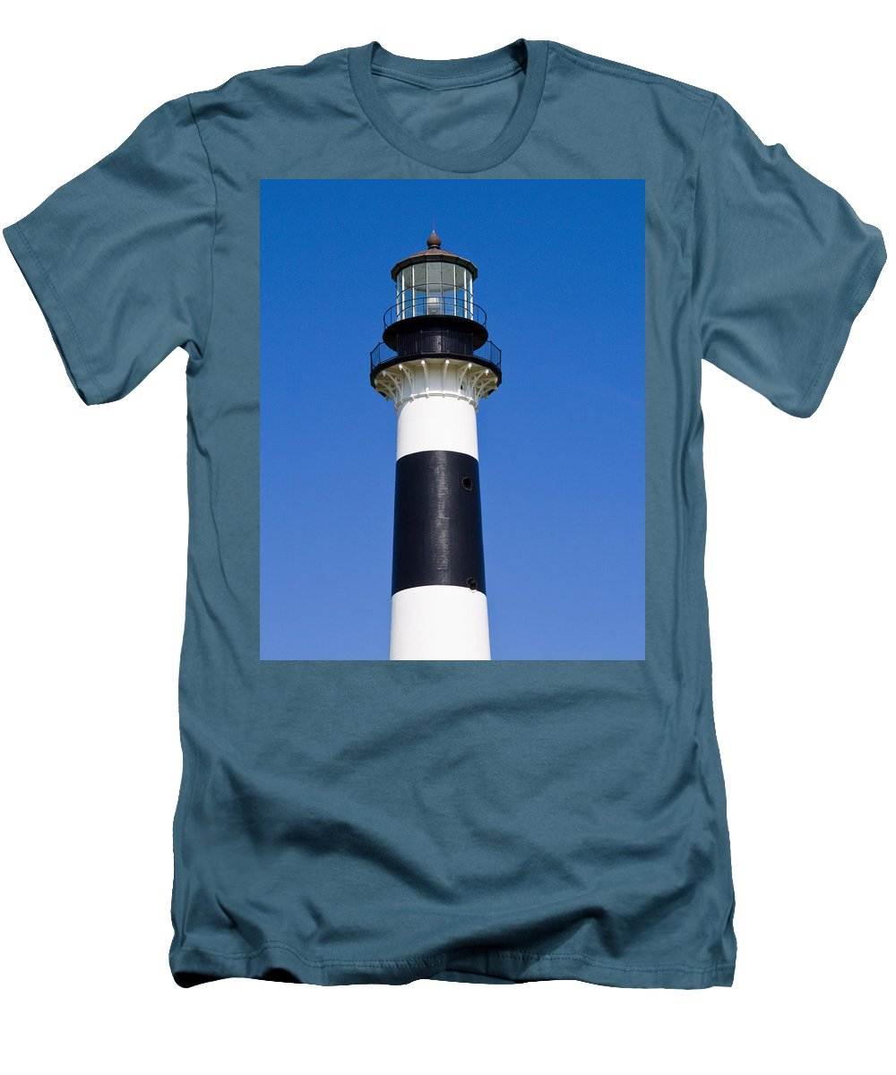 Cape; Canaveral; Light; Lighthouse; Florida; Keeper; Navigation; Usa; Atlantic; Kennedy; Space; Beac Men's T-Shirt (Athletic Fit) featuring the photograph Cape Canaveral Lighthouse On The East Coast Of Florida by Allan Hughes