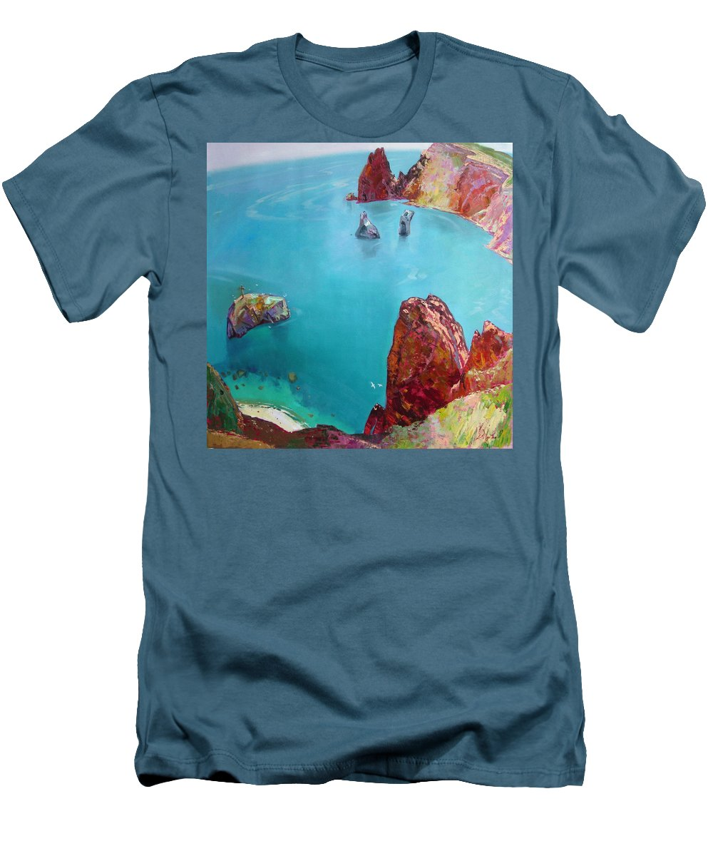 Ignatenko Men's T-Shirt (Athletic Fit) featuring the painting Cape Fiolent by Sergey Ignatenko