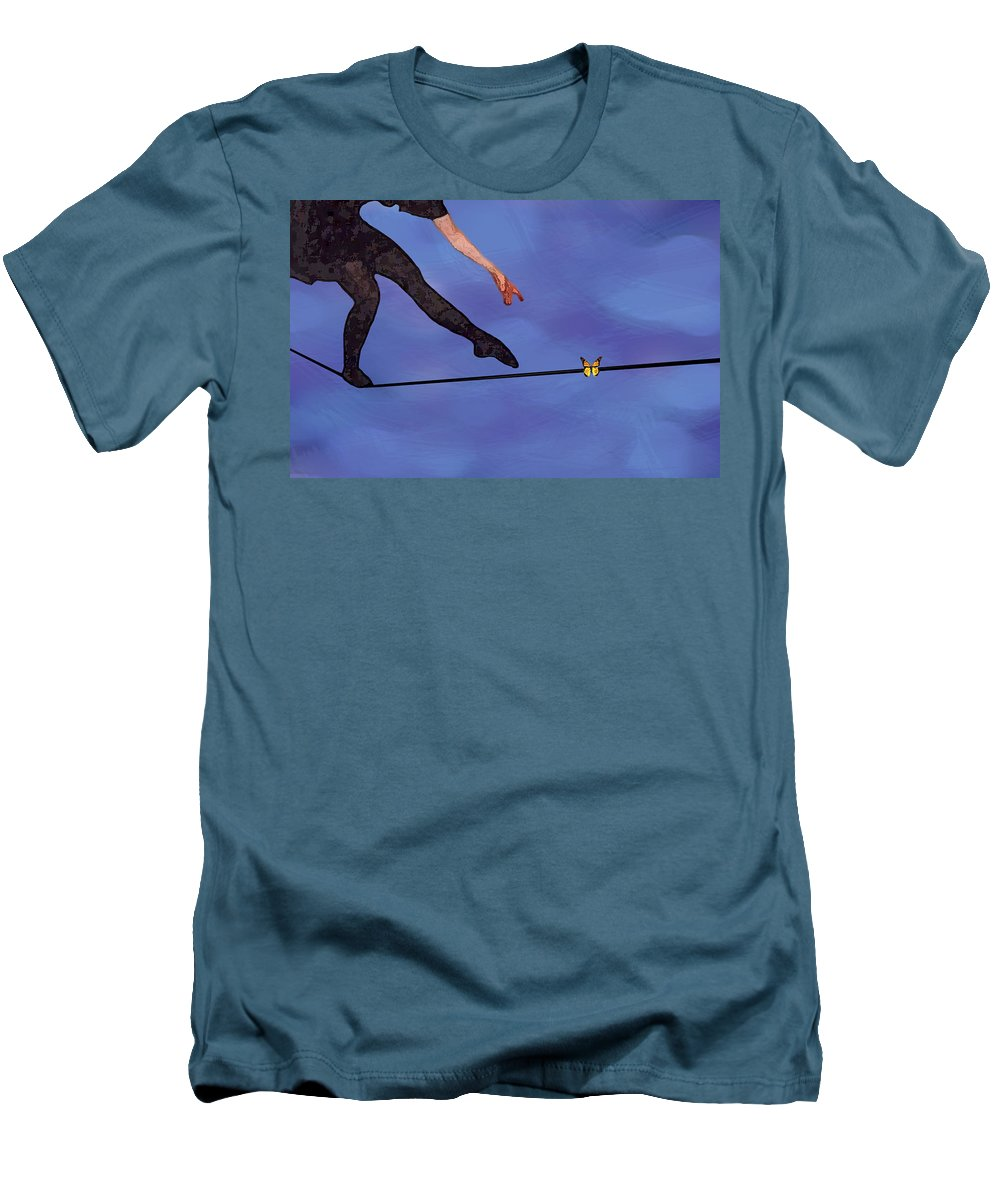 Surreal Men's T-Shirt (Slim Fit) featuring the painting Catching Butterflies by Steve Karol