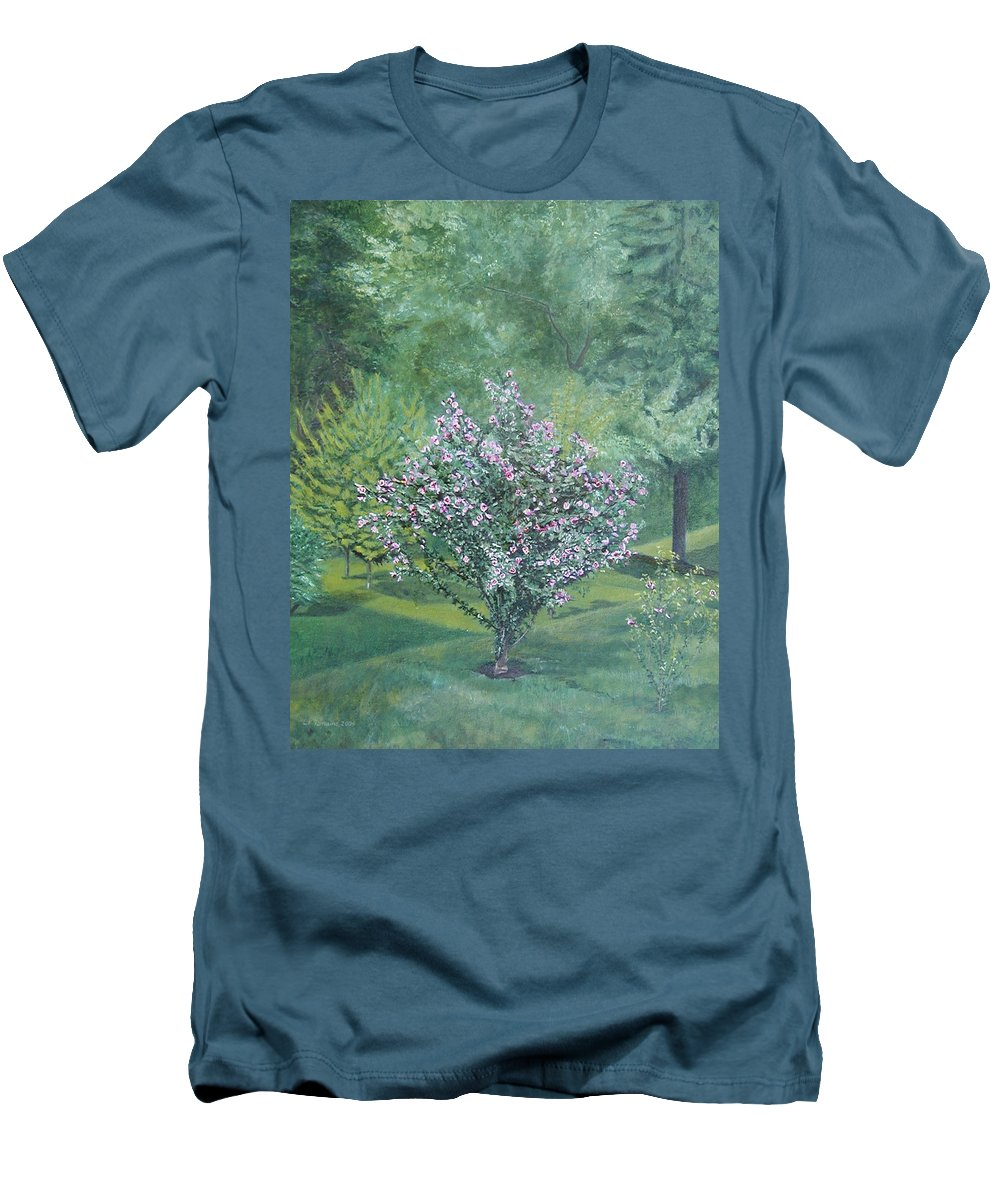 Blooming Men's T-Shirt (Slim Fit) featuring the painting Charles Street by Leah Tomaino
