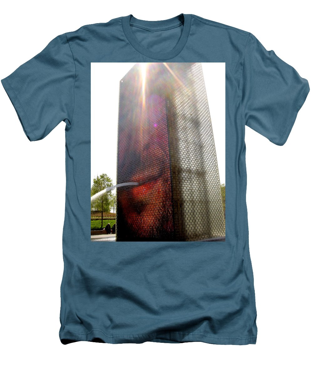 Chicago Men's T-Shirt (Athletic Fit) featuring the photograph Chicago Crown Fountain 4 by Jean Macaluso