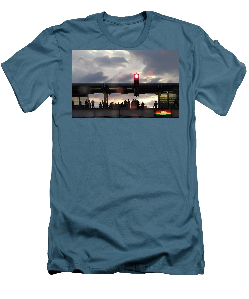 L Train Men's T-Shirt (Athletic Fit) featuring the photograph Chicago L Train by Albert Stewart