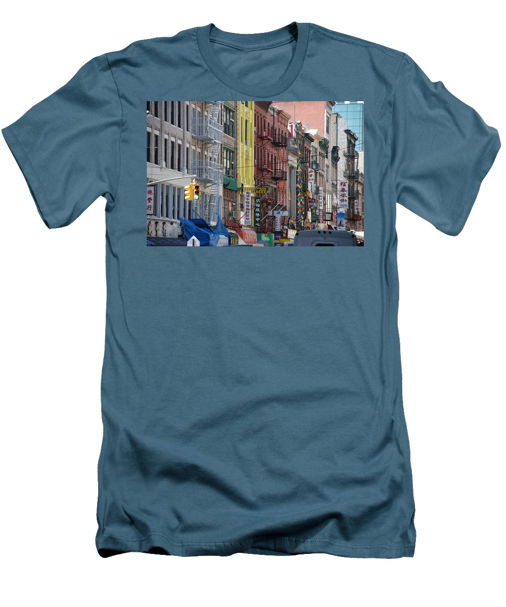 Architecture Men's T-Shirt (Athletic Fit) featuring the photograph Chinatown Walk Ups by Rob Hans