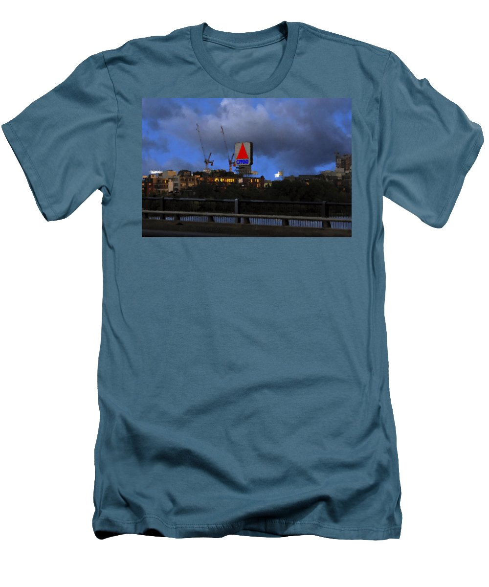 Citgo Sign Men's T-Shirt (Athletic Fit) featuring the digital art Citgo Sign by Edward Cardini
