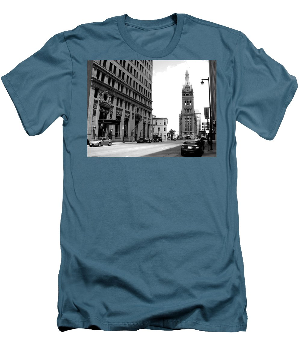 Milwaukee Men's T-Shirt (Athletic Fit) featuring the photograph City Hall B-w by Anita Burgermeister