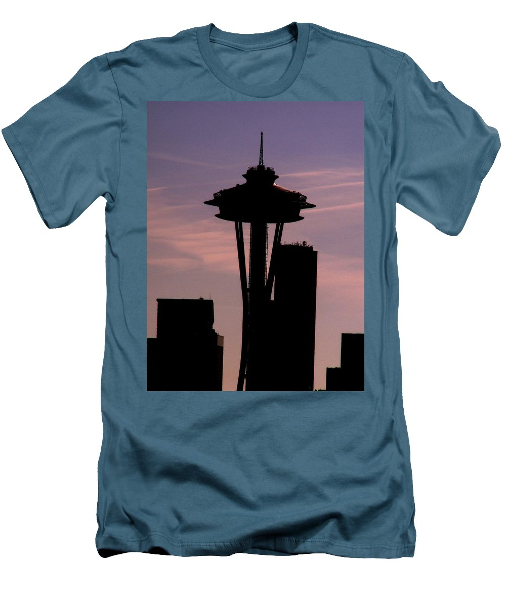 Seattle Men's T-Shirt (Athletic Fit) featuring the digital art City Needle by Tim Allen