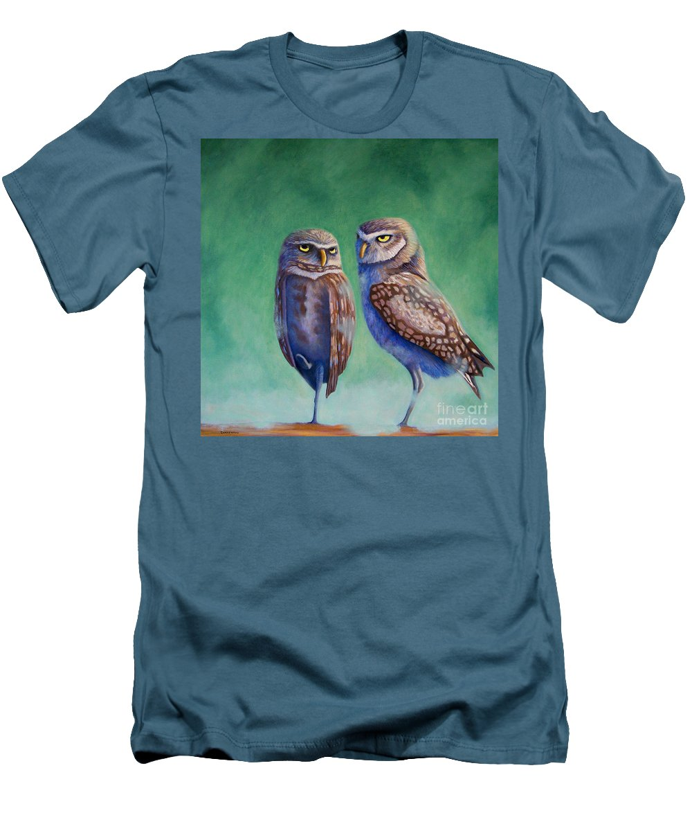 Owls Men's T-Shirt (Athletic Fit) featuring the painting Close Encounters by Brian Commerford