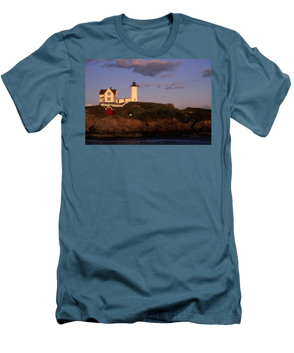 Landscape New England Lighthouse Nautical Coast Men's T-Shirt (Athletic Fit) featuring the photograph Cnrf0908 by Henry Butz