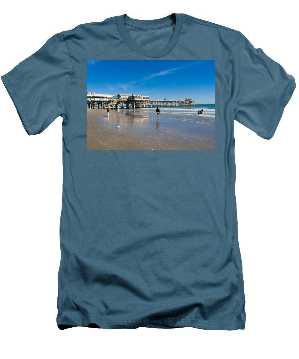 Florida; Cocoa; Beach; Atlantic; Ocean; East; Space; Coast; Brevard; Central; Pier; Surf; Surfing; F Men's T-Shirt (Athletic Fit) featuring the photograph Cocoa Beach Florida by Allan Hughes