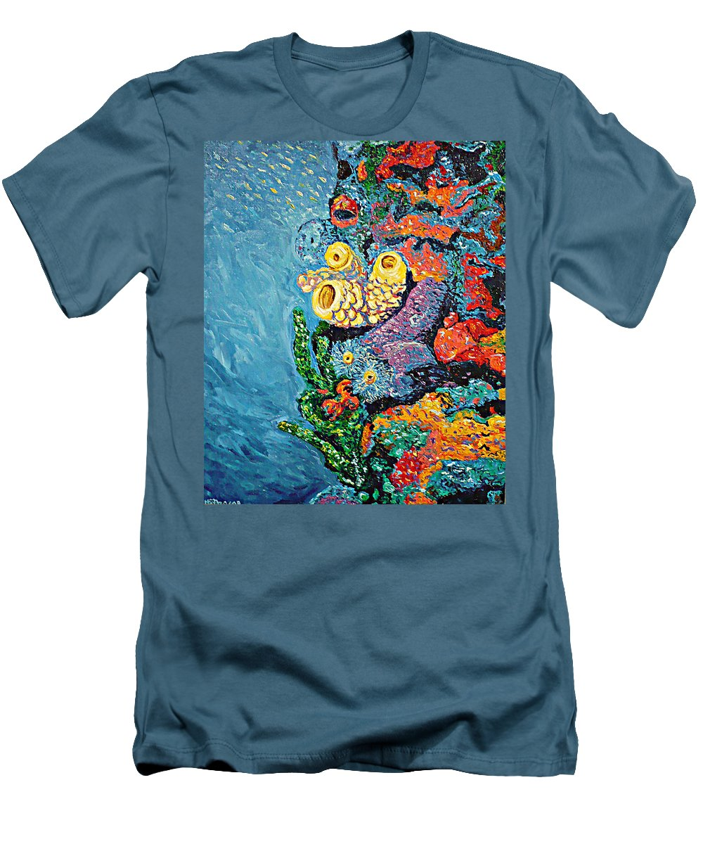 Coral Men's T-Shirt (Athletic Fit) featuring the painting Coral With Cucumber by Ericka Herazo