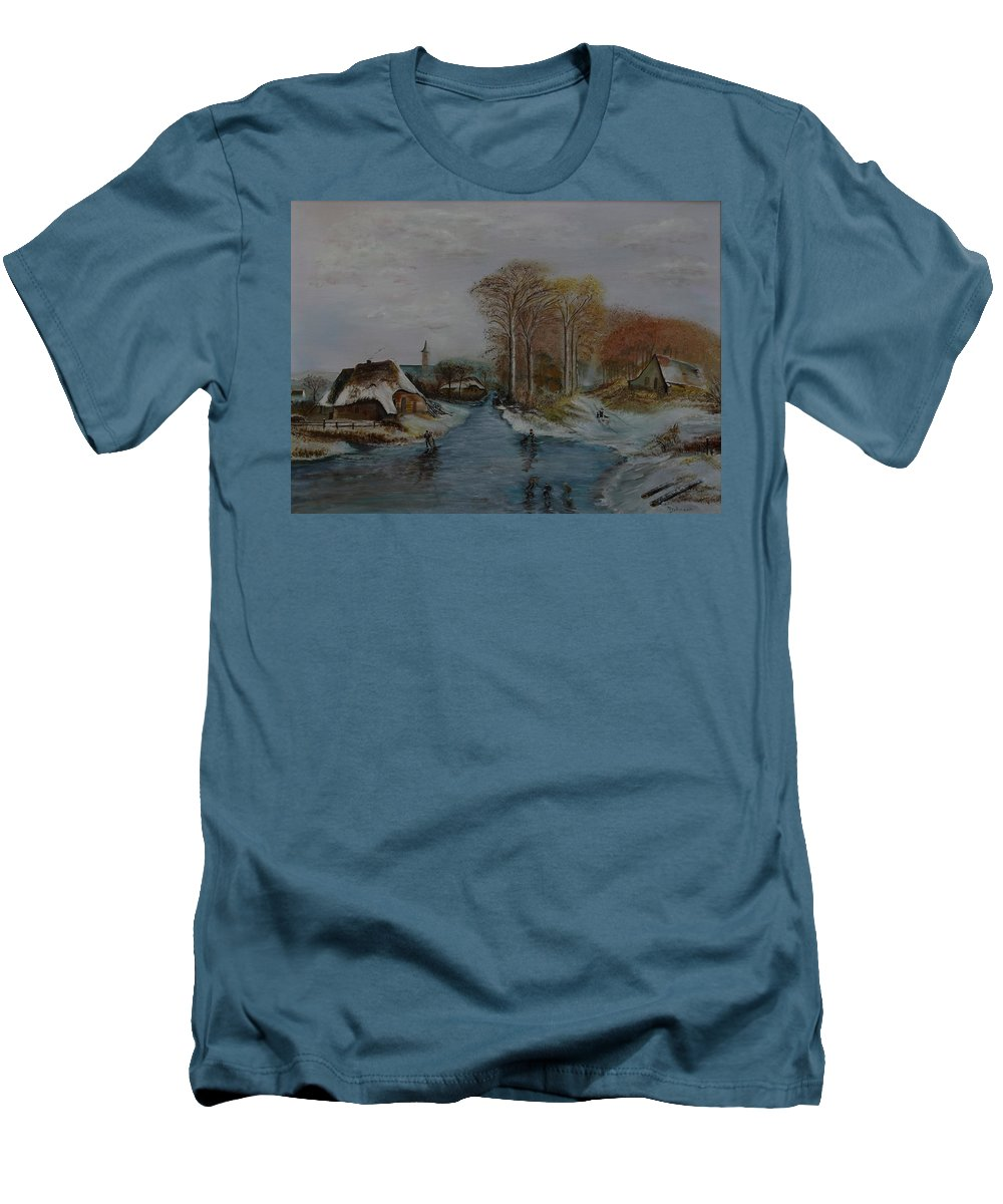Thatched Roof Cottage Men's T-Shirt (Athletic Fit) featuring the painting Cottage Country - Lmj by Ruth Kamenev
