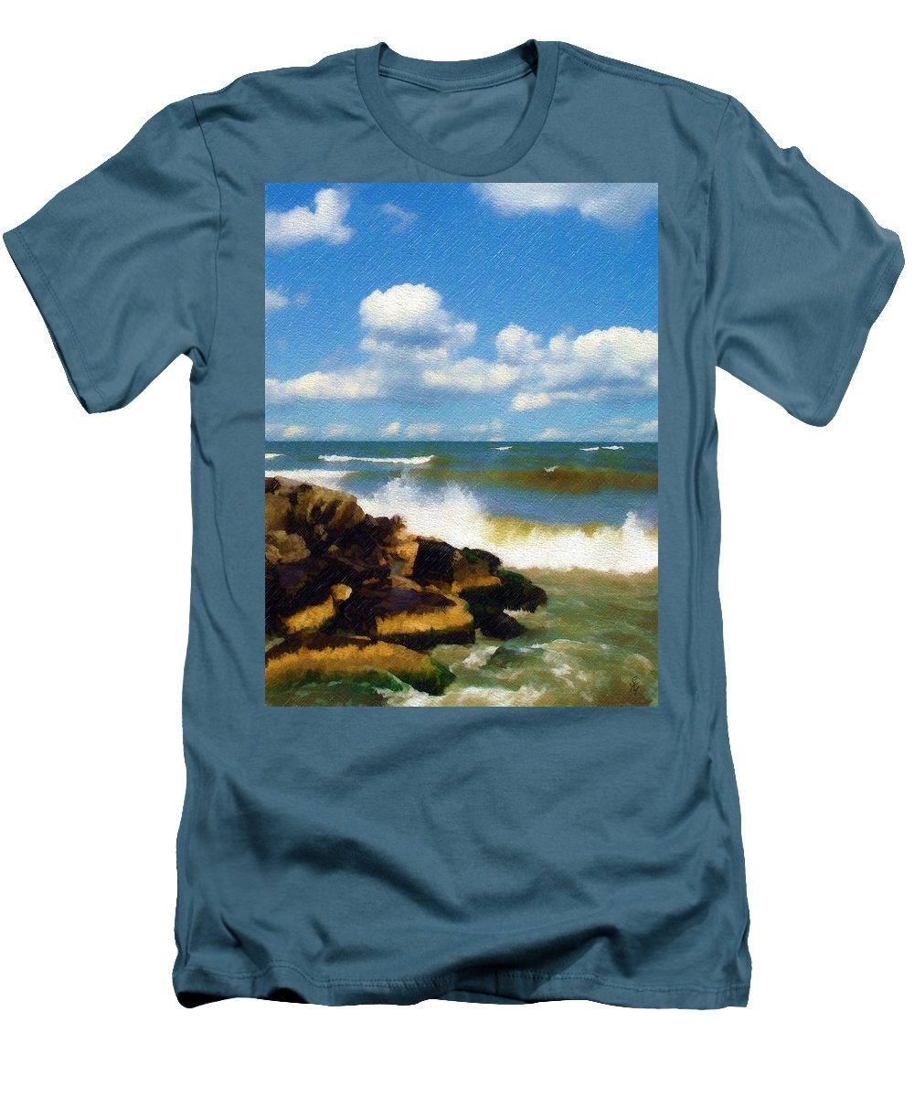Seascape Men's T-Shirt (Athletic Fit) featuring the photograph Crashing Into Shore by Sandy MacGowan